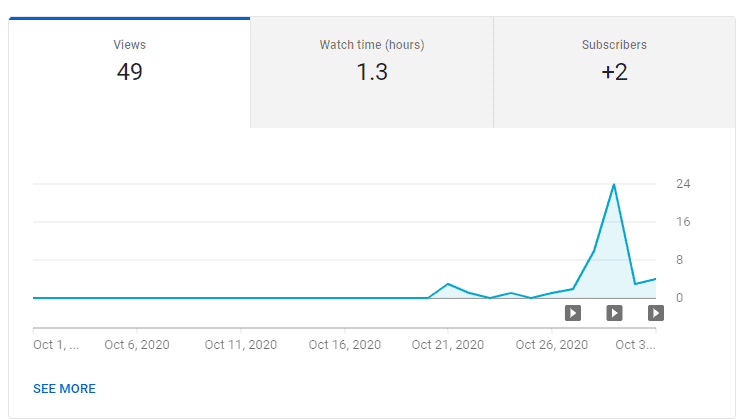 Youtube Stats of SurfSaaS youtube channel for october 2020