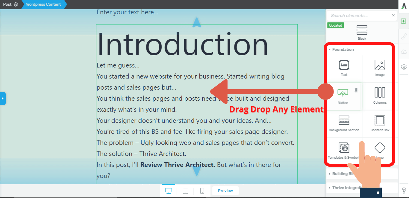 thrive architect drag and drop editor